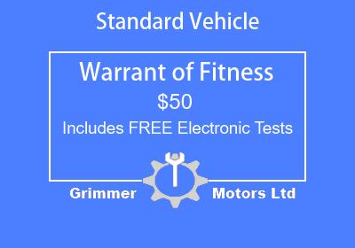 Standard Vehicle Warrant of Fitness